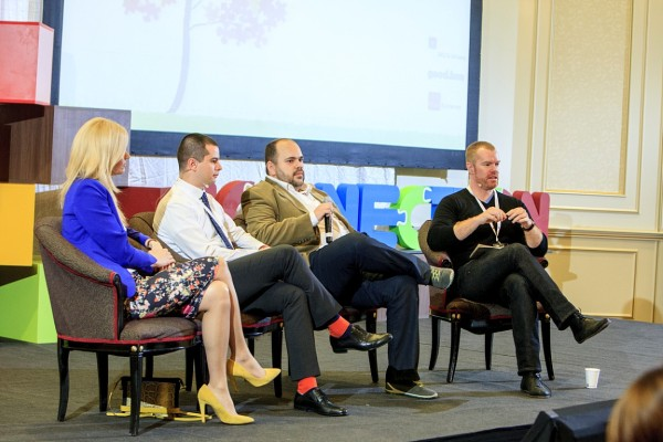 Katie Rizvi, Asociația Little People România; Ionut Stanimir, BCR; Vlad Craioveanu, The HUB Bucharest; Chris Worman, TechSoup